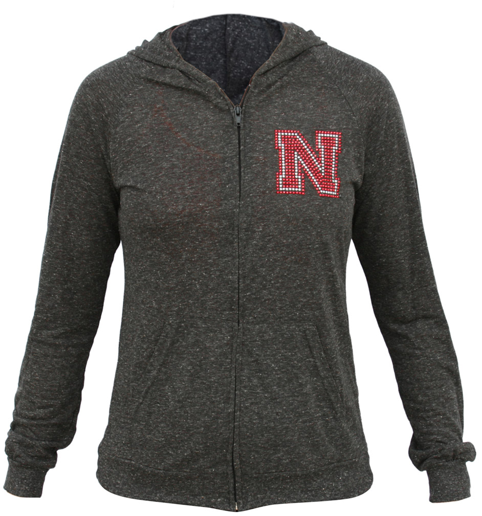 Women's Tri-Blend Long Sleeve Zip Hoodie with Bling N Nebraska Cornhuskers, Nebraska  Ladies Sweatshirts, Huskers  Ladies Sweatshirts, Nebraska  Hoodies, Huskers  Hoodies, Nebraska  Ladies Tops, Huskers  Ladies Tops, Nebraska  Long Sleeve, Huskers  Long Sleeve, Nebraska Wmns LS Tri-Blend Zip Hdy w Bling N, Huskers Wmns LS Tri-Blend Zip Hdy w Bling N