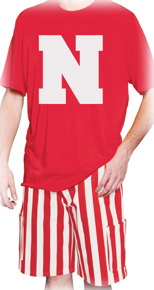 Red and White Stripe Cargo Shorts
