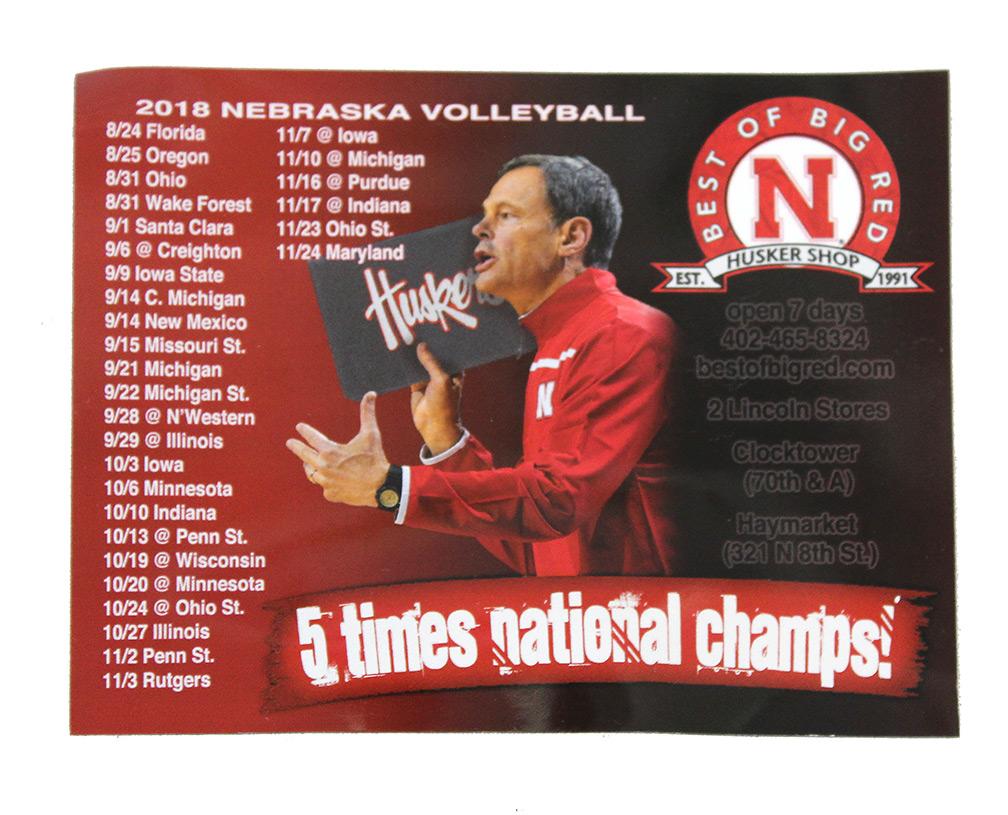 Nebraska Volleyball Schedule 2019 2018 Nebraska Volleyball Schedule Magnet