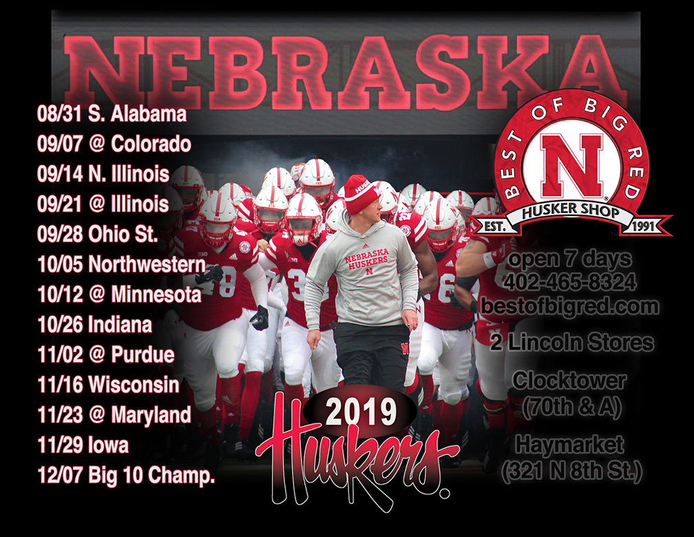 Husker Schedule 2019 2019 Nebraska Football Schedule Magnet