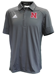 Adidas Under The Lights Coaches Sideline Polo Nebraska Cornhuskers, Nebraska Adidas, Huskers Adidas, Nebraska Polo's, Huskers Polo's, Nebraska  Mens Polo's, Huskers  Mens Polo's, Nebraska Adidas Grey Under The Lights Coaches Sideline Polo, Huskers Adidas Grey Under The Lights Coaches Sideline Polo