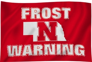 Frost Warning Flag  Nebraska Cornhuskers, Nebraska  Flags & Windsocks, Huskers  Flags & Windsocks, Nebraska Frost Warning Flag 3x5, Huskers Frost Warning Flag 3x5