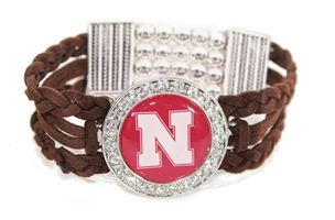 Husker Braided Rhinestone Circle Bracelet Nebraska Cornhuskers, Nebraska  Jewelry & Hair, Huskers  Jewelry & Hair, Nebraska  Ladies Accessories, Huskers  Ladies Accessories, Nebraska  Ladies, Huskers  Ladies, Nebraska Brown Braid Rhinestone Circle Bracelet FTH, Huskers Brown Braid Rhinestone Circle Bracelet FTH