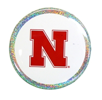 Husker N Glitter Button Nebraska Cornhuskers, Nebraska  Beads & Fun Stuff, Huskers  Beads & Fun Stuff, Nebraska  Novelty, Huskers  Novelty, Nebraska White 3 inch Glitter Button CS, Huskers White 3 inch Glitter Button CS
