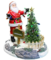 Husker Santa Stringing Lights Figurine Nebraska Cornhuskers, Nebraska  Holiday Items, Huskers  Holiday Items, Nebraska Nebraska Santa Stringing Lights Figurine Memory Company, Huskers Nebraska Santa Stringing Lights Figurine Memory Company