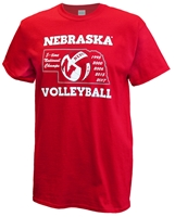 Huskers 5 National Champs Volleyball Tee Nebraska Cornhuskers, Nebraska  Mens T-Shirts, Huskers  Mens T-Shirts, Nebraska  Mens, Huskers  Mens, Nebraska  Short Sleeve, Huskers  Short Sleeve, Nebraska Volleyball, Huskers Volleyball, Nebraska Red SS Volleyball Champ Years Cornborn Tee, Huskers Red SS Volleyball Champ Years Cornborn Tee
