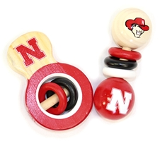 Huskers Baby Wooden Rattle Set Nebraska Cornhuskers, Nebraska  Infant, Huskers  Infant, Nebraska  Toys & Games, Huskers  Toys & Games, Nebraska Baby Wooden Rattle Set MP, Huskers Baby Wooden Rattle Set MP
