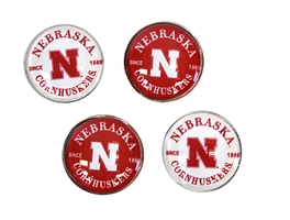 Nebraska Cornhuskers Fridge Magnet 4 Pack Nebraska Cornhuskers, Nebraska Stickers Decals & Magnets, Huskers Stickers Decals & Magnets, Nebraska Red White Circle Magnet Pack Legacy, Huskers Red White Circle Magnet Pack Legacy