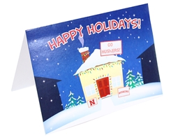 Huskers Happy Holidays Cozy Home Holiday Card Nebraska Cornhuskers, Nebraska  Holiday Items, Huskers  Holiday Items, Nebraska Happy Holidays House Holiday Card FG, Huskers Happy Holidays House Holiday Card FG