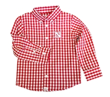 Huskers Tots Gingham LS Button Up Nebraska Cornhuskers, Nebraska  Childrens, Huskers  Childrens, Nebraska Huskers Tots Gingham LS Button Up, Huskers Huskers Tots Gingham LS Button Up