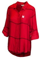 Lady Husker Boyfriend Satin Plaid Top - Red Nebraska Cornhuskers, Nebraska  Ladies Tops, Huskers  Ladies Tops, Nebraska Polos, Huskers Polos, Nebraska Lady Husker Boyfriend Satin Plaid Top - Red, Huskers Lady Husker Boyfriend Satin Plaid Top - Red