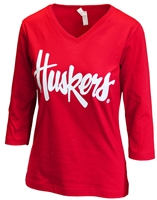 Lady Huskers 3/4 Sleeve VNeck Tee Nebraska Cornhuskers, Nebraska  Ladies, Huskers  Ladies, Nebraska  Ladies T-Shirts, Huskers  Ladies T-Shirts, Nebraska  Ladies Tops, Huskers  Ladies Tops, Nebraska Lady Huskers 3/4 Sleeve VNeck Tee, Huskers Lady Huskers 3/4 Sleeve VNeck Tee