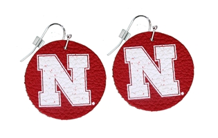 N Rounder Leather Earrings Nebraska Cornhuskers, Nebraska  Jewelry & Hair, Huskers  Jewelry & Hair, Nebraska  Ladies Accessories, Huskers  Ladies Accessories, Nebraska N Rounder Leather Earrings, Huskers N Rounder Leather Earrings