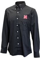 Nebraska Button Down Black Dress Shirt Nebraska Cornhuskers, Nebraska  Mens Polos, Huskers  Mens Polos, Nebraska Black LS Dress Shirt Button Down Ant, Huskers Black LS Dress Shirt Button Down Ant