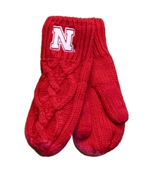 Nebraska Cable Knit Mittens Nebraska Cornhuskers, Nebraska  Ladies, Huskers  Ladies, Nebraska  Ladies Accessories, Huskers  Ladies Accessories, Nebraska Nebraska Cable Knit Mittens, Huskers Nebraska Cable Knit Mittens