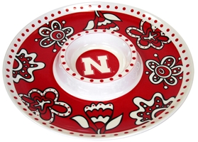 Nebraska Chip and Dip Floral Tray Nebraska Cornhuskers, Nebraska  Tailgating, Huskers  Tailgating, Nebraska  Kitchen & Glassware, Huskers  Kitchen & Glassware, Nebraska Nebraska Chip and Dip Floral Tray, Huskers Nebraska Chip and Dip Floral Tray