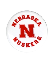 Nebraska Huskers Button Magnet Nebraska Cornhuskers, Nebraska Stickers Decals & Magnets, Huskers Stickers Decals & Magnets, Nebraska White 2 inch Button Magnet CS, Huskers White 2 inch Button Magnet CS