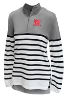 Nebraska Ladies Striped Quarter Zip Pulover Nebraska Cornhuskers, Nebraska  Ladies Outerwear, Huskers  Ladies Outerwear, Nebraska  Ladies, Huskers  Ladies, Nebraska Stripe W 14 Zip Pullover GDC, Huskers Stripe W 14 Zip Pullover GDC