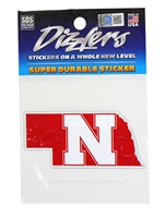 Nebraska State N Dizzler Sticker Nebraska Cornhuskers, Nebraska Stickers Decals & Magnets, Huskers Stickers Decals & Magnets, Nebraska Nebraska State N Dizzler Sticker, Huskers Nebraska State N Dizzler Sticker