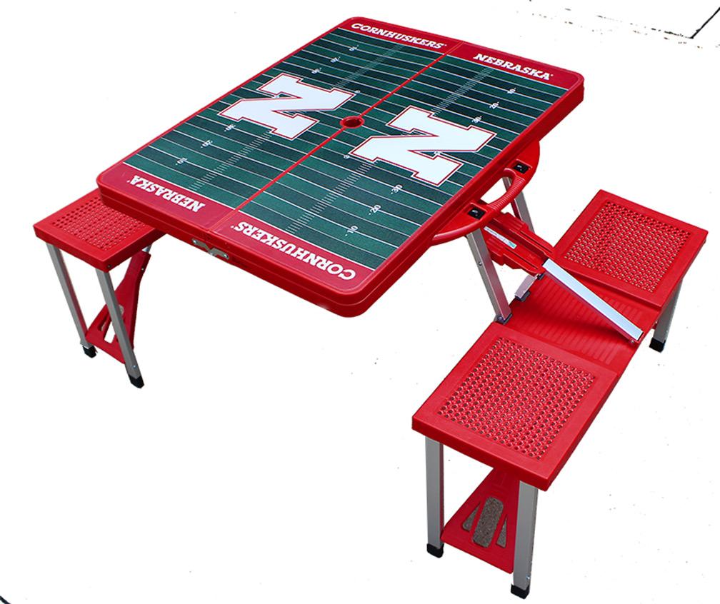 Picnic Table Portable Folding Table with Seats, Nebraska Cornhuskers Red