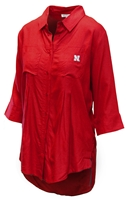 Nebraska Womens Pleat Button Up Nebraska Cornhuskers, Nebraska  Ladies Tops, Huskers  Ladies Tops, Nebraska Nebraska Womens Pleat Button Up, Huskers Nebraska Womens Pleat Button Up