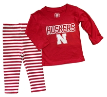 Red Infant Girls Iron N Two Piece Stripe Set Nebraska Cornhuskers, Nebraska  Infant, Huskers  Infant, Nebraska Red Infant Girls Iron N Two Piece Stripe Set, Huskers Red Infant Girls Iron N Two Piece Stripe Set