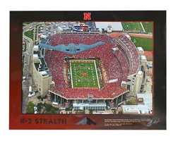Stealth B-2 Over Memorial Stadium Poster Nebraska Cornhuskers, Stealth B-2 Memorial Stadium Poster