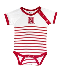Striped Nebraska Onesie Nebraska Cornhuskers, Nebraska  Infant, Huskers  Infant, Nebraska Striped Nebraska Onesie, Huskers Striped Nebraska Onesie