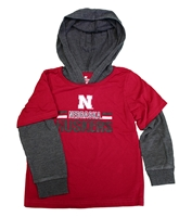 Toddler 2fer Nebraska Huskers Hooded Tee Nebraska Cornhuskers, Nebraska  Childrens, Huskers  Childrens, Nebraska Toddler 2fer Sloth LS Hooded Tee, Huskers Toddler 2fer Sloth LS Hooded Tee