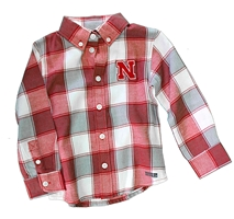 Toddler Nebraska Button Down Nebraska Cornhuskers, Nebraska  Childrens, Huskers  Childrens, Nebraska Toddler Nebraska Button Down, Huskers Toddler Nebraska Button Down