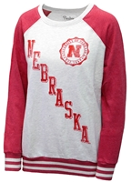 UNL Seal Oatmeal Raglan Sweatshirt Nebraska Cornhuskers, Nebraska  Ladies Sweatshirts, Huskers  Ladies Sweatshirts, Nebraska  Ladies, Huskers  Ladies, Nebraska Oatmeal Raglan Sundown Sweatshirt PB, Huskers Oatmeal Raglan Sundown Sweatshirt PB