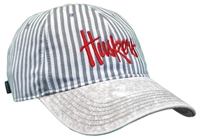 Womens Grey Stripe Stone Washed Denim Huskers Lid Nebraska Cornhuskers, Nebraska  Ladies Hats, Huskers  Ladies Hats, Nebraska  Ladies Hats, Huskers  Ladies Hats, Nebraska Womens Grey Stripe Stone Washed Denim Huskers Lid, Huskers Womens Grey Stripe Stone Washed Denim Huskers Lid
