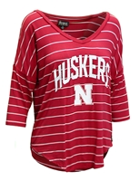 Womens Huskers Stripe V-neck Top Nebraska Cornhuskers, Nebraska  Ladies Tops, Huskers  Ladies Tops, Nebraska Womens Huskers Stripe V-neck Top, Huskers Womens Huskers Stripe V-neck Top