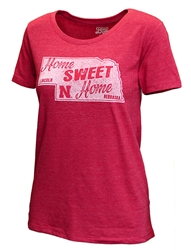 Womens Nebraska Home Sweet Home Tee Nebraska Cornhuskers, Nebraska  Short Sleeve, Huskers  Short Sleeve, Nebraska  Ladies, Huskers  Ladies, Nebraska  Ladies T-Shirts, Huskers  Ladies T-Shirts, Nebraska Womens Nebraska Home Sweet Home Tee, Huskers Womens Nebraska Home Sweet Home Tee