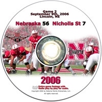 2006 Dvd Nicholls State Husker football, Nebraska cornhuskers merchandise, husker merchandise, nebraska merchandise, nebraska cornhuskers dvd, husker dvd, nebraska football dvd, nebraska cornhuskers videos, husker videos, nebraska football videos, husker game dvd, husker bowl game dvd, husker dvd subscription, nebraska cornhusker dvd subscription, husker football season on dvd, nebraska cornhuskers dvd box sets, husker dvd box sets, Nebraska Cornhuskers, 2006 Nicholls State