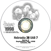 1998 Alabama Birmingham Husker football, Nebraska cornhuskers merchandise, husker merchandise, nebraska merchandise, nebraska cornhuskers dvd, husker dvd, nebraska football dvd, nebraska cornhuskers videos, husker videos, nebraska football videos, husker game dvd, husker bowl game dvd, husker dvd subscription, nebraska cornhusker dvd subscription, husker football season on dvd, nebraska cornhuskers dvd box sets, husker dvd box sets, Nebraska Cornhuskers, 1998 Alabama Birmingham