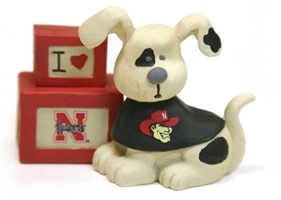 "Dog with ""Luv N Huskers"" Blocks Nebraska Cornhuskers, Dog with Luv N Huskers Blocks"